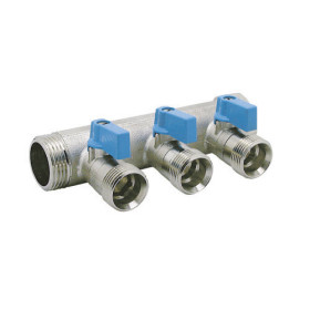 3 ways male manifold Euroconus with incorporated ball valves
