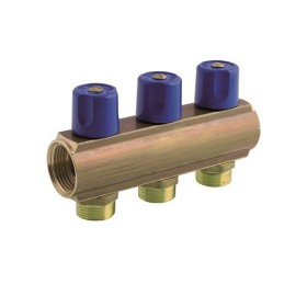 Manifold made of brass rod with 3/4 Euroconus male offtakes and incorporated valves, interaxis 50mm