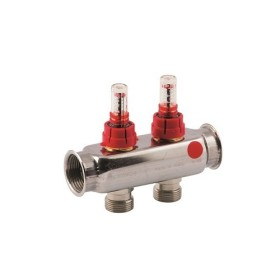 "FF stainless steel AISI 304L manifold with 3/4"" M Euroconus outlets and flow meters"