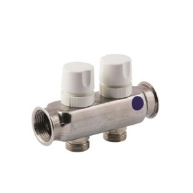 "FF stainless steel AISI 304L manifold with 3/4"" M Euroconus outlets and thermostatic screws and micrometric wheelhandle."