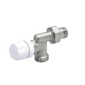 Inversed angle radiator thermostatisable valve. Euroconus connections for copper, Pex and multilayer pipe