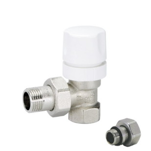 Angle thermostatic radiator valve with micrometric wheelhandle for iron pipe