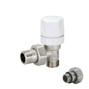 Angle thermostatic radiator valve with micrometric wheelhandle for copper, multilayer and Pex pipe