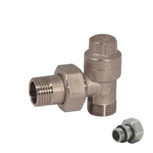 Angle lockshield-valve for copper, multilayer and Pex pipe