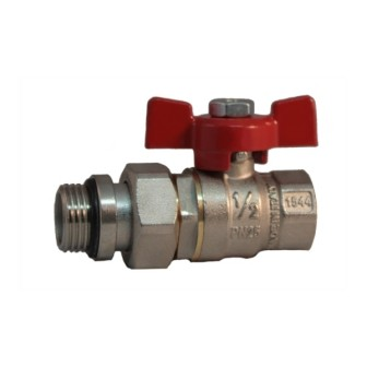 Pipe union with OR MF ball valve PN 25 with butterfly handle