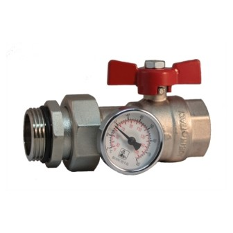 MF brass ball valve PN25 with pipe union and O-ring, thermometer Ø 40mm, range 0 - 80°C, butterfly handle
