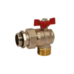 Angle MM ball valve PN25 with pipe union, butterfly handle