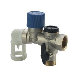 Angle safety group with check and ball valve for boiler