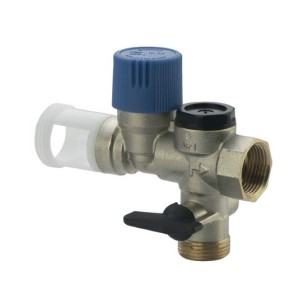 Straight safety group with check and ball valve for boiler