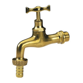 Hose bibcock, polished brass