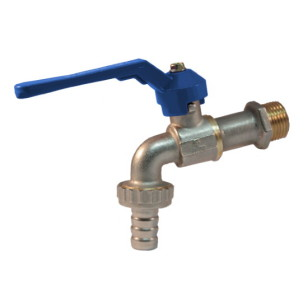 Heavy ball bibcock hose connection, aluminum lever handle