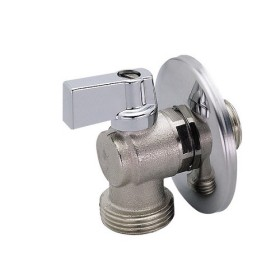 Angle ball valve for washingmachine with rosette, light pattern, nichel aluminium handle