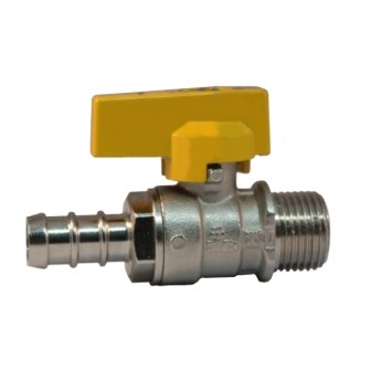Male connection gas ball valve with hose attachment