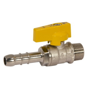 Male connection gas ball valve with hose attachment UNI 7141 standard