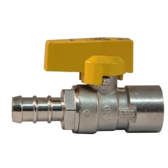 Female connection gas ball valve with hose attachment