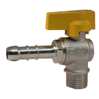 Male gas ball valve with hose attachment UNI 7141 standard