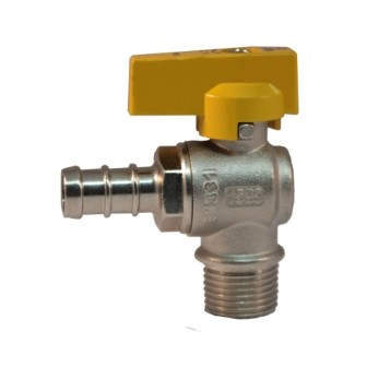 Male connection angle gas ball valve with hose attachment