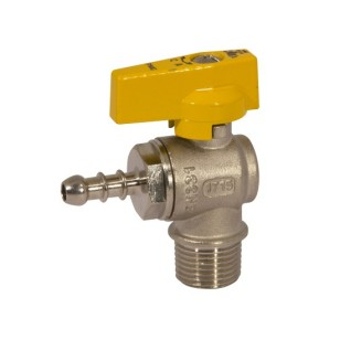 Male connection angle liquid gas ball valve with hose attachment