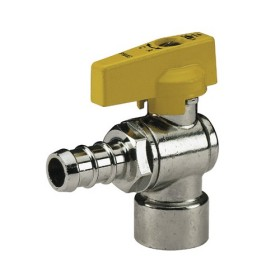 Female connection angle gas ball valve with hose attachment