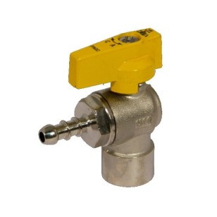 Female connection angle liquid gas ball valve with hose attachment