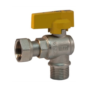 Angle ball valve with male connection and female sliding nut