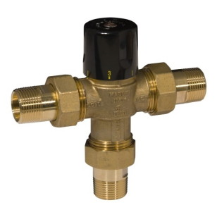 3 ways solar thermostatic mixing valve, pipe union - h-temp.