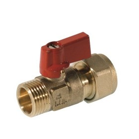 Ball valve male connection for pex pipe, lever aluminium handle
