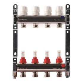 "FF stainless steel AISI 304L manifolds with 3/4"" male Euroconus outlets, with thermostatic valves and flow meters"