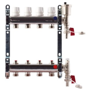 "FF stainless steel AISI 304L manifolds with 3/4"" male Euroconus outlets, with thermostatic screws and lockshield valves"
