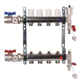 "FF stainless steel AISI 304L manifolds with 3/4"" male Euroconus outlets, with thermostatic screws and lockshield valves. Ball valves thermometer included"