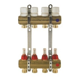 Brass manifolds, with therm. valves and flowmeters