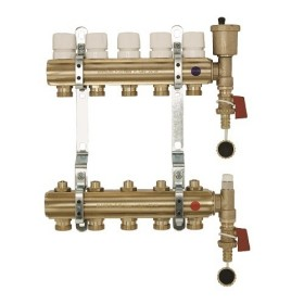 "FF brass bar manifolds with 3/4"" male Euroconus outlets, with thermostatic screw and lockshield valves"