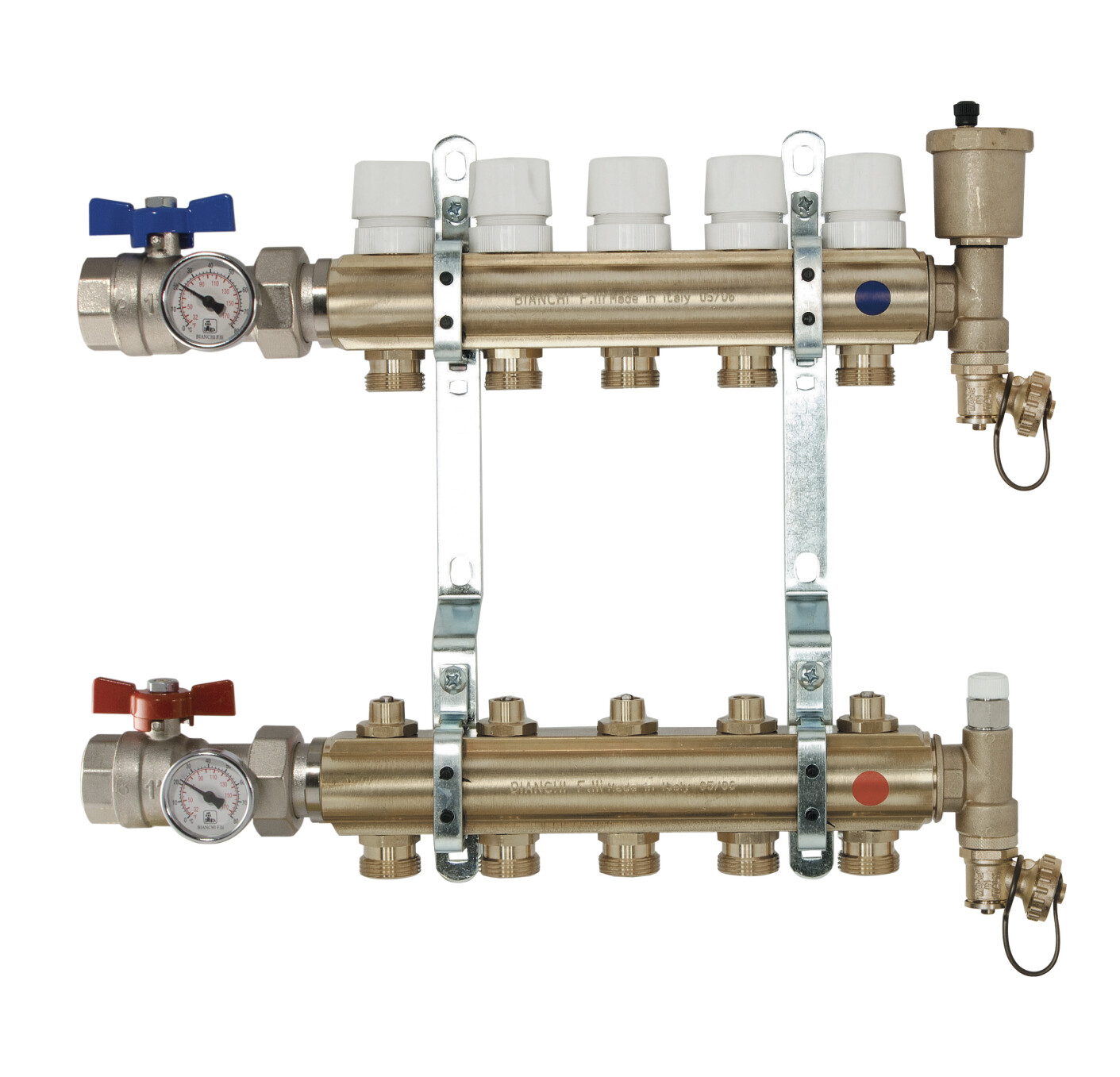 Brass manifolds therm. valves and lockshield, valves, disch.