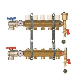"FF brass bar manifolds with 3/4"" male Euroconus outlets, with thermostatic screw and lockshield valves."