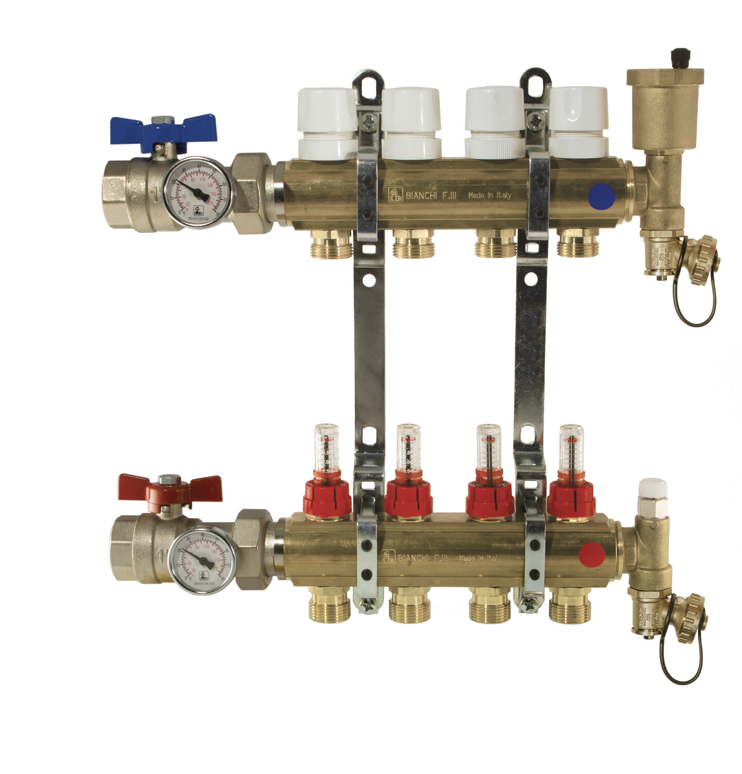 Brass manifolds therm. valves and flowmeters, valves, disch.