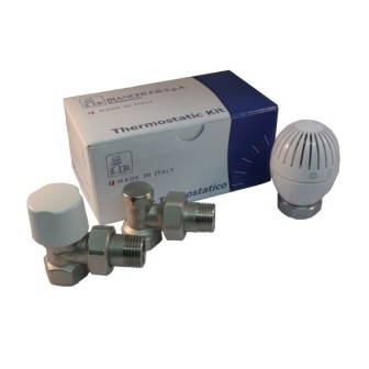 Angle thermostatic kit for iron pipe