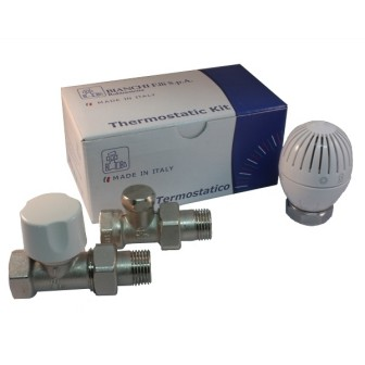 Straight thermostatic kit for iron pipe