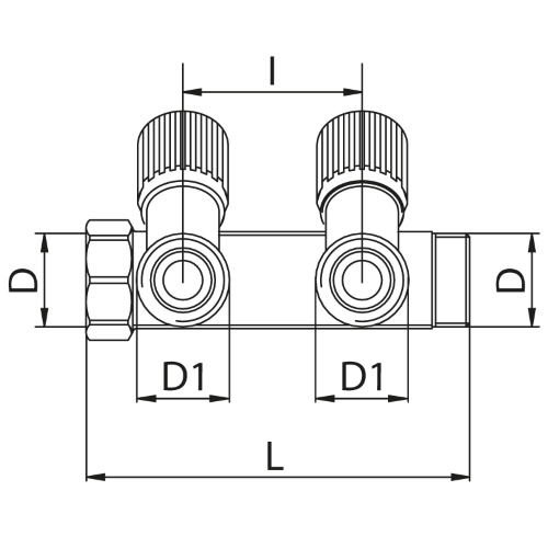 Scheda tecnica - Manifold with 2 male outlets and oblique valve