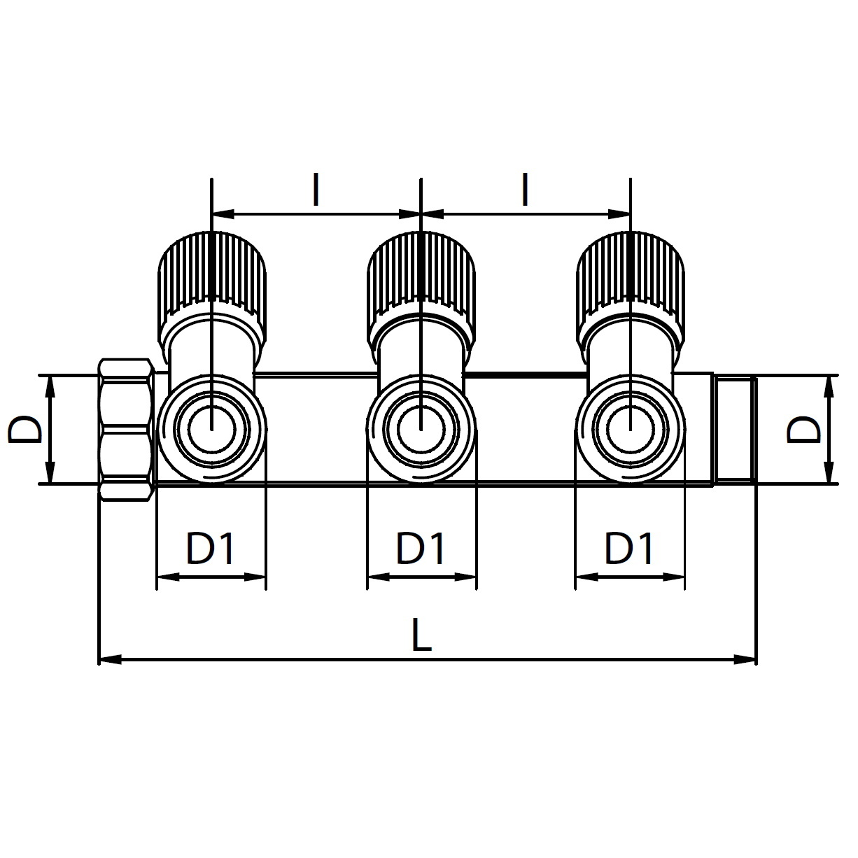 Scheda tecnica - Manifold with 3 male outlets and oblique valve