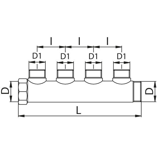 Scheda tecnica - Manifold with 4 male outlets