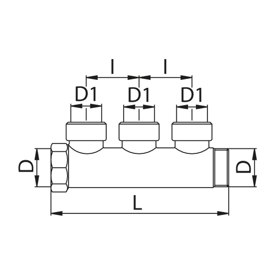 Scheda tecnica - Manifold with 3 female outlets
