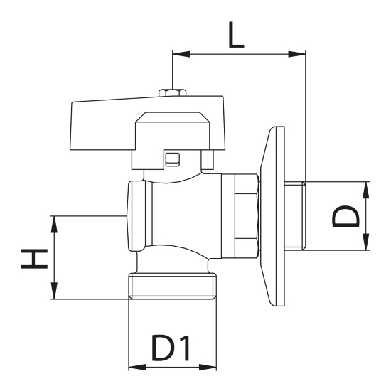 Scheda tecnica - Angle ball valve for washing-machine with rosette