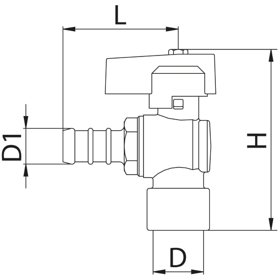 Scheda tecnica - Female connection angle gas ball valve with hose attachment
