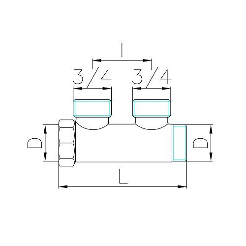 Datasheet - Manifold with 2 male outlets Euroconus in DZR