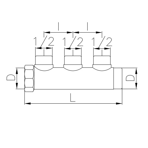 Datasheet - Manifold with 3 male outlets