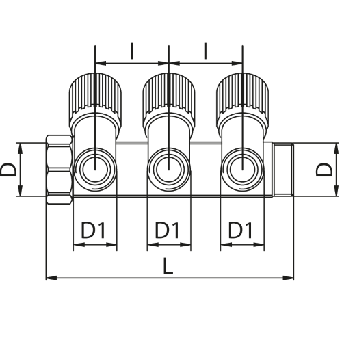 Datasheet - Manifold with 3 male outlets and oblique valve