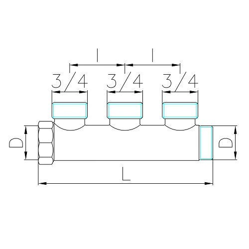Datasheet - Manifold with 3 male outlets Euroconus in DZR