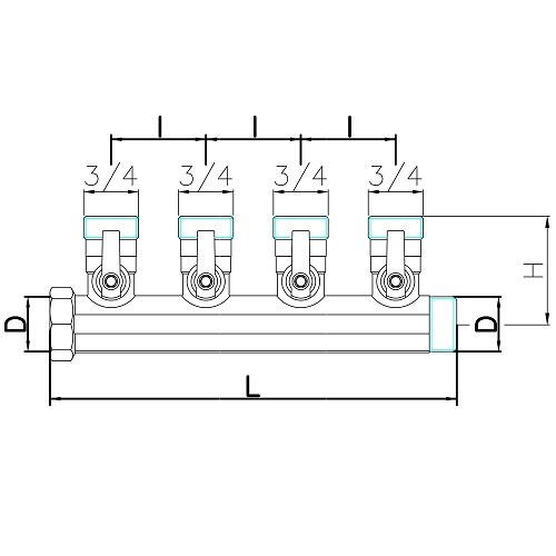 Datasheet - 4 ways male manifold Euroconus with incorporated ball valve