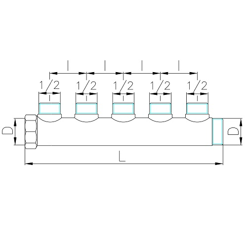 Scheda tecnica - Manifold with 5 male outlets
