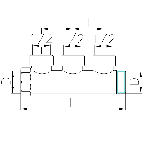 Datasheet - Manifold with 3 female outlets